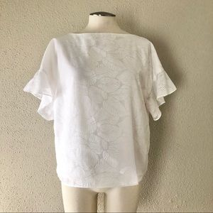 Banana Republic Leaf Print Blouse - White